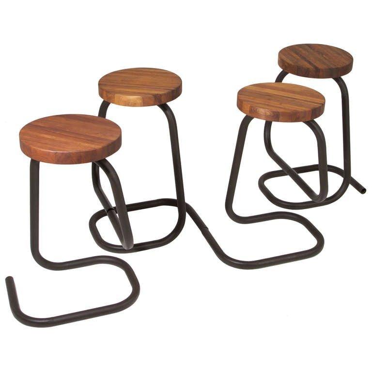 Brazilian walnut bar stools (4)