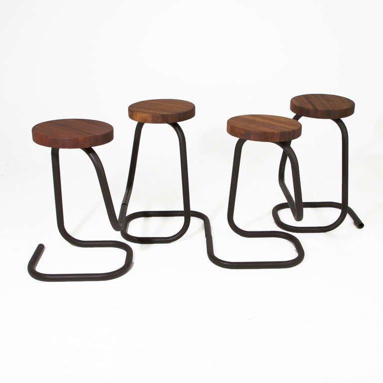 Brazilian walnut bar stools (4) - 2