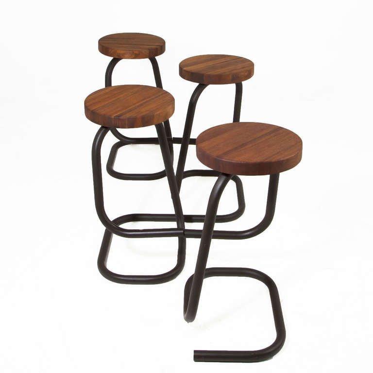 Brazilian walnut bar stools (4) - 3