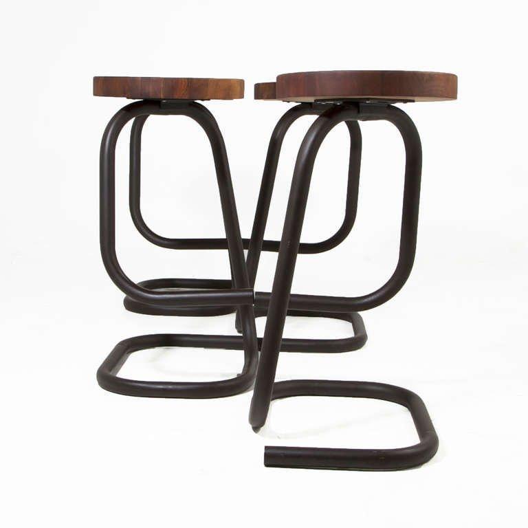 Brazilian walnut bar stools (4) - 4