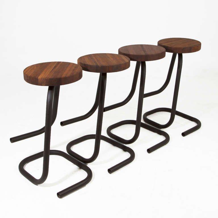Brazilian walnut bar stools (4) - 5
