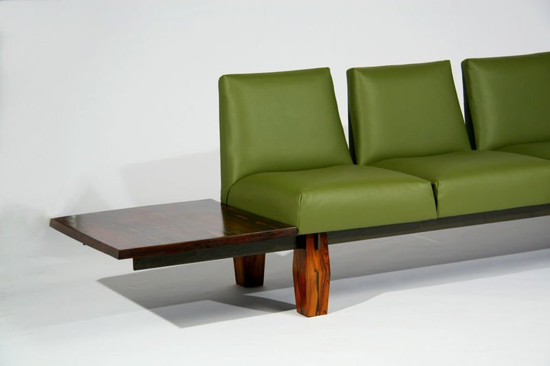 L'Atelier rosewood and leather sofa - 2