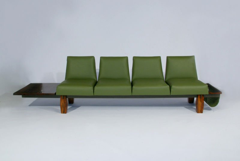 L'Atelier rosewood and leather sofa - 4