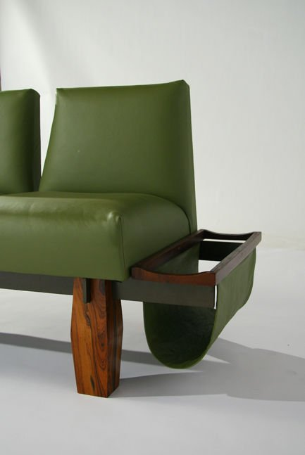 L'Atelier rosewood and leather sofa - 5