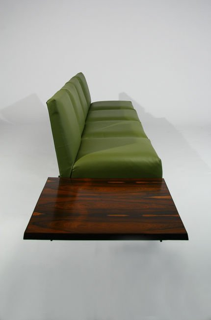 L'Atelier rosewood and leather sofa - 6