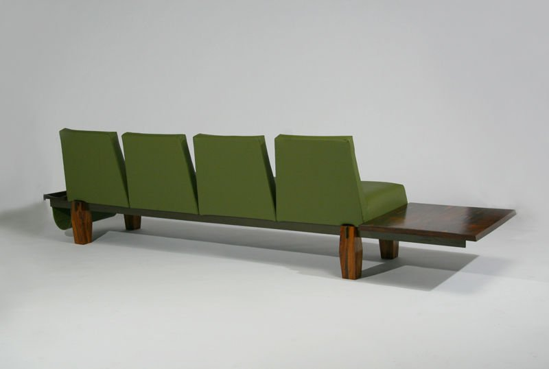 L'Atelier rosewood and leather sofa - 8