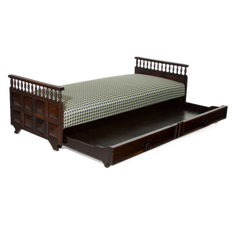 Carved rosewood daybed - 2