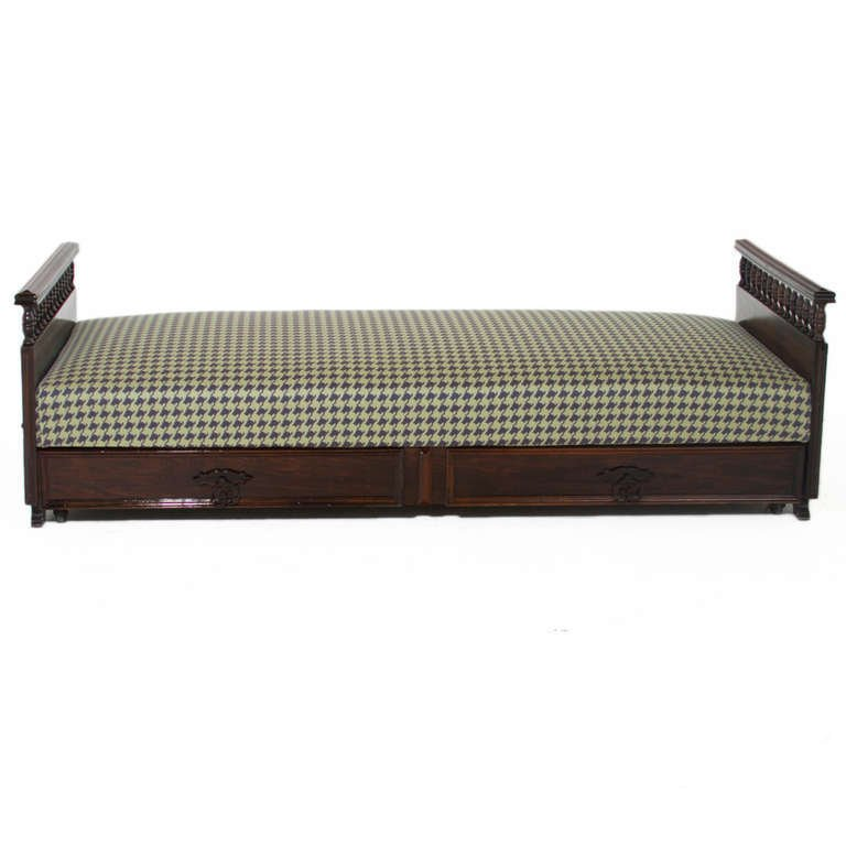 Carved rosewood daybed - 3