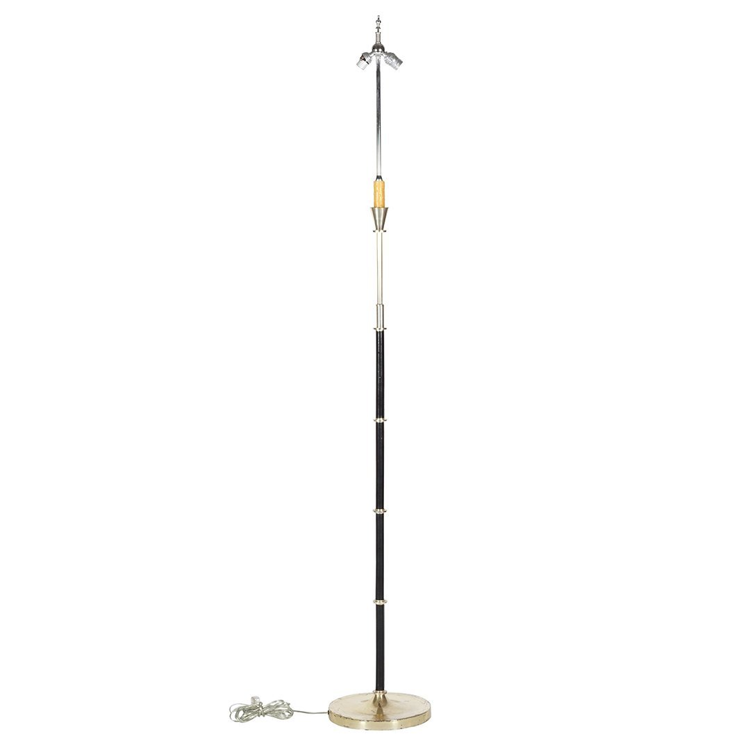 French bronze and leather floor lamp