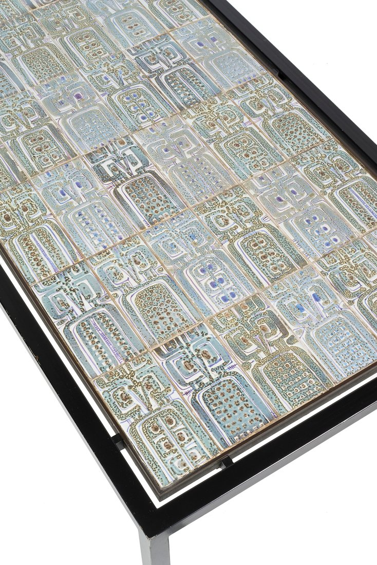 French ceramic tiled coffee table - 3