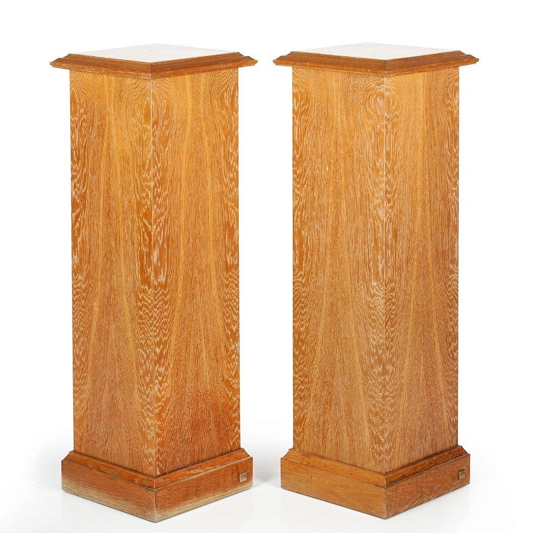Christian Mahey oak pedestals