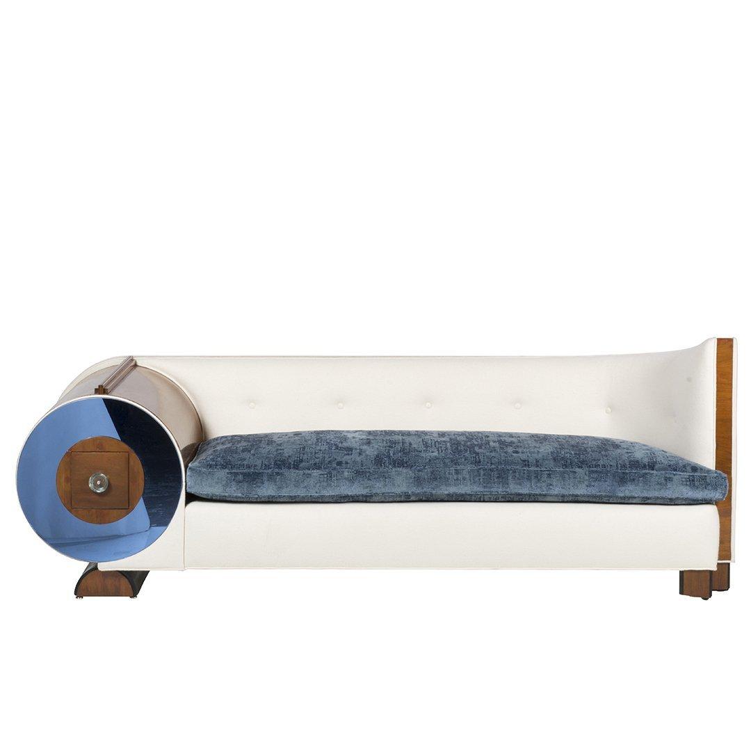 Art Deco mahogany and glass sofa