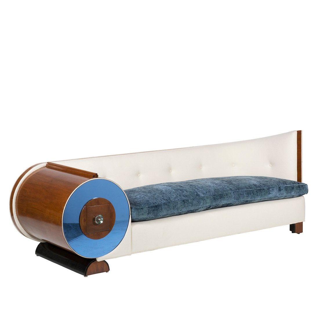 Art Deco mahogany and glass sofa - 2