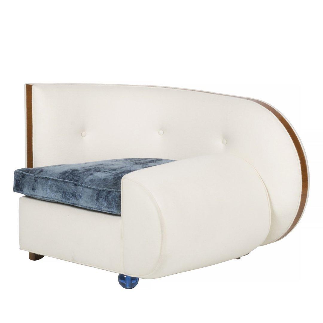 Art Deco wool felt and glass armchair
