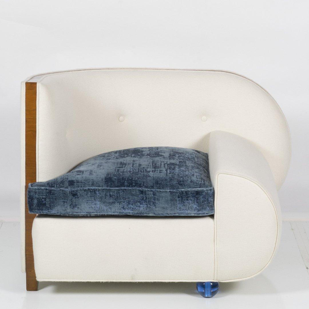 Art Deco wool felt and glass armchair - 2