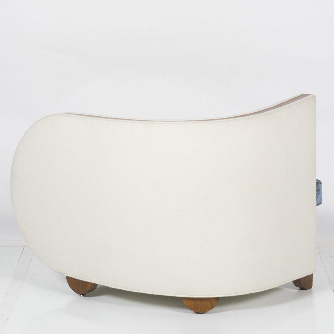 Art Deco wool felt and glass armchair - 3