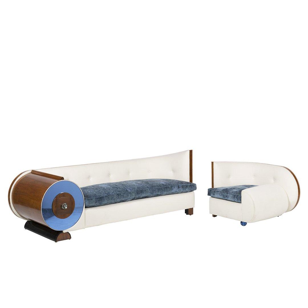 Art Deco wool felt and glass armchair - 4