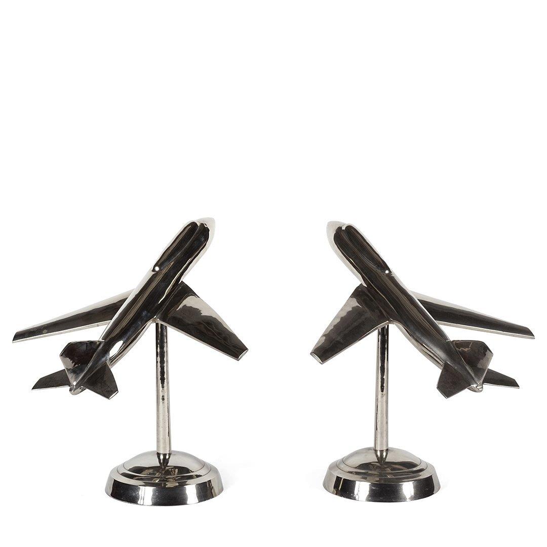 Aluminum airplane sculptures (2)
