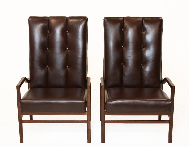 Danish leather and teak armchairs (2) - 2