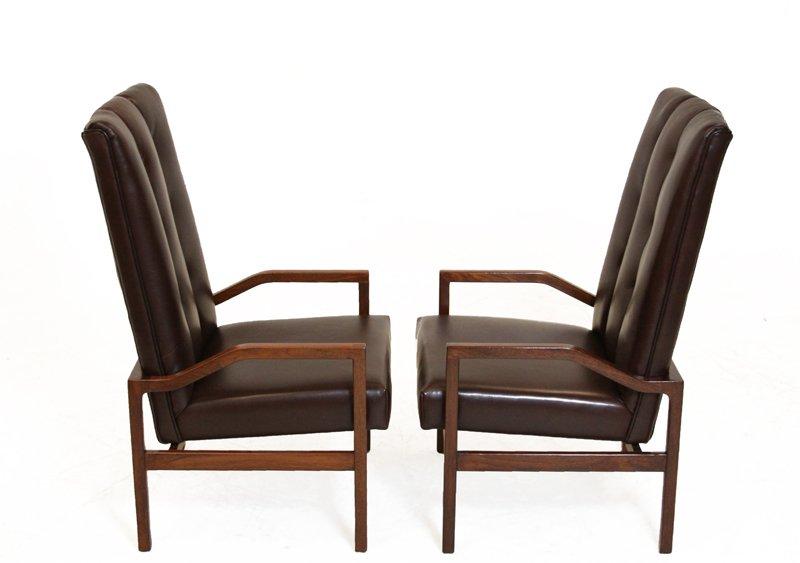 Danish leather and teak armchairs (2) - 3