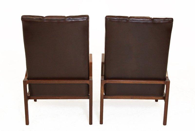 Danish leather and teak armchairs (2) - 4