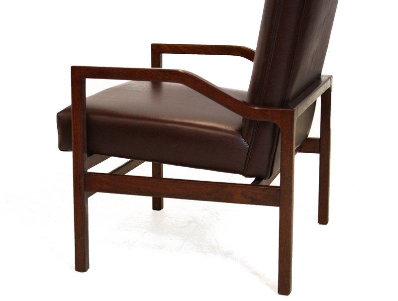 Danish leather and teak armchairs (2) - 5