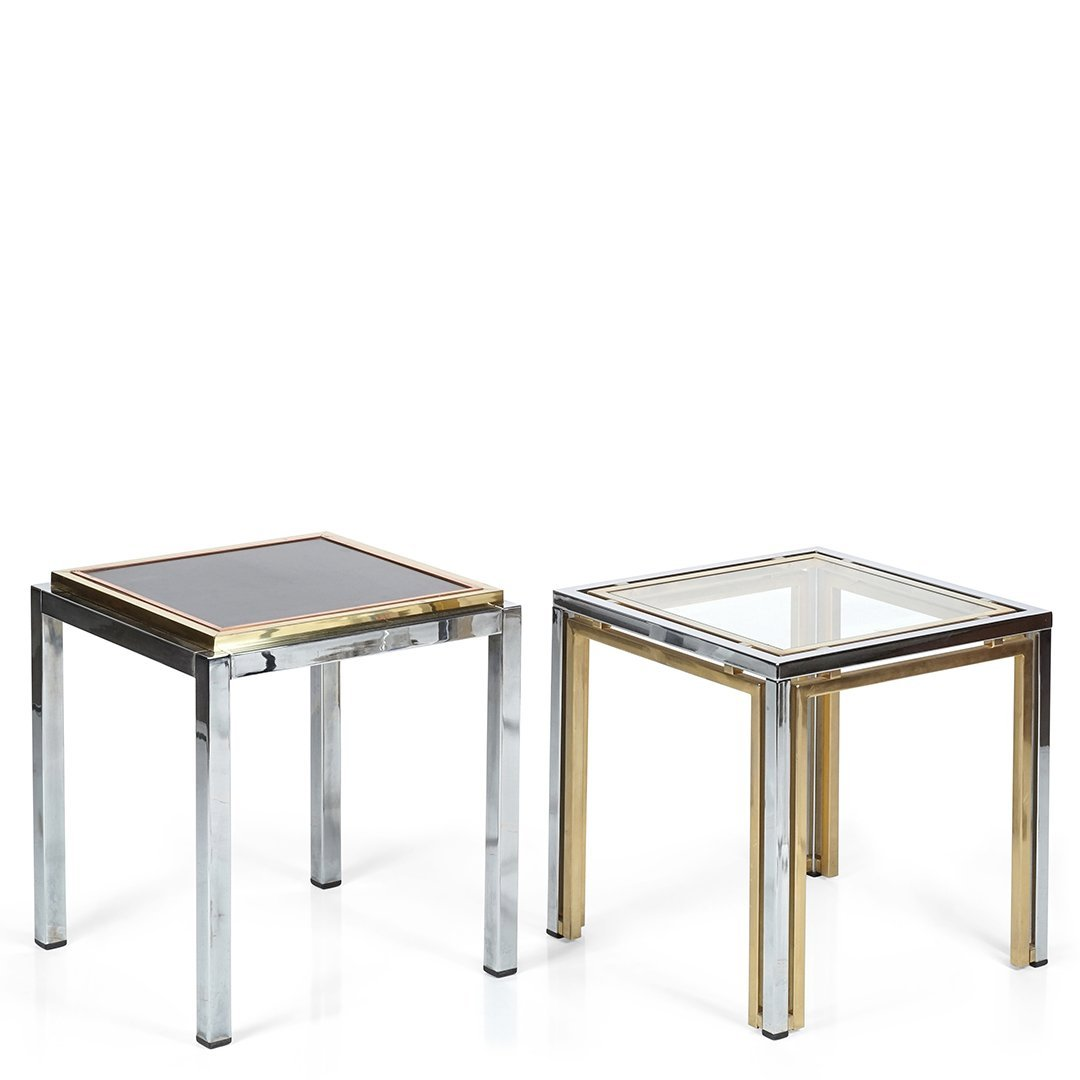 Chrome and glass side tables (2)