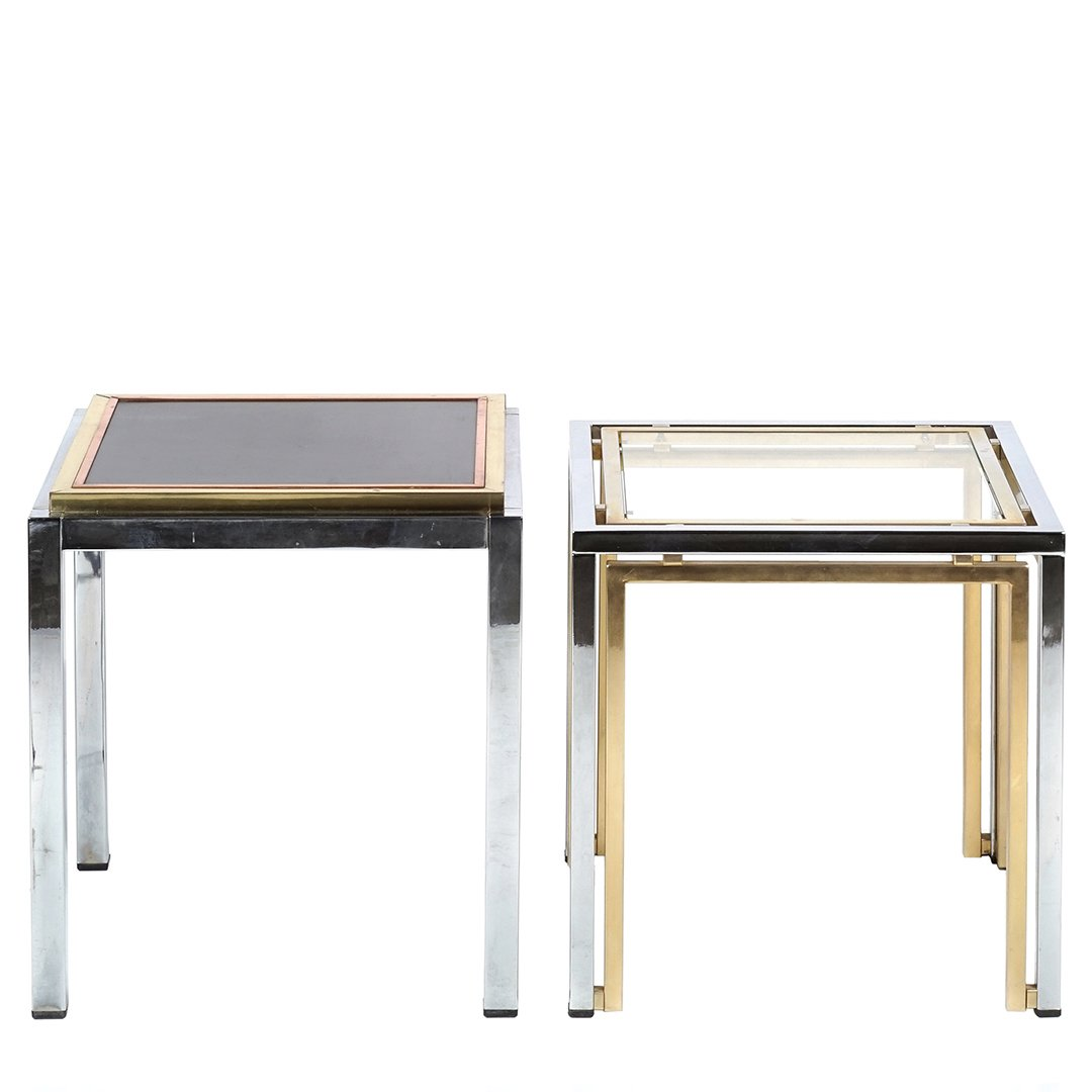 Chrome and glass side tables (2) - 2