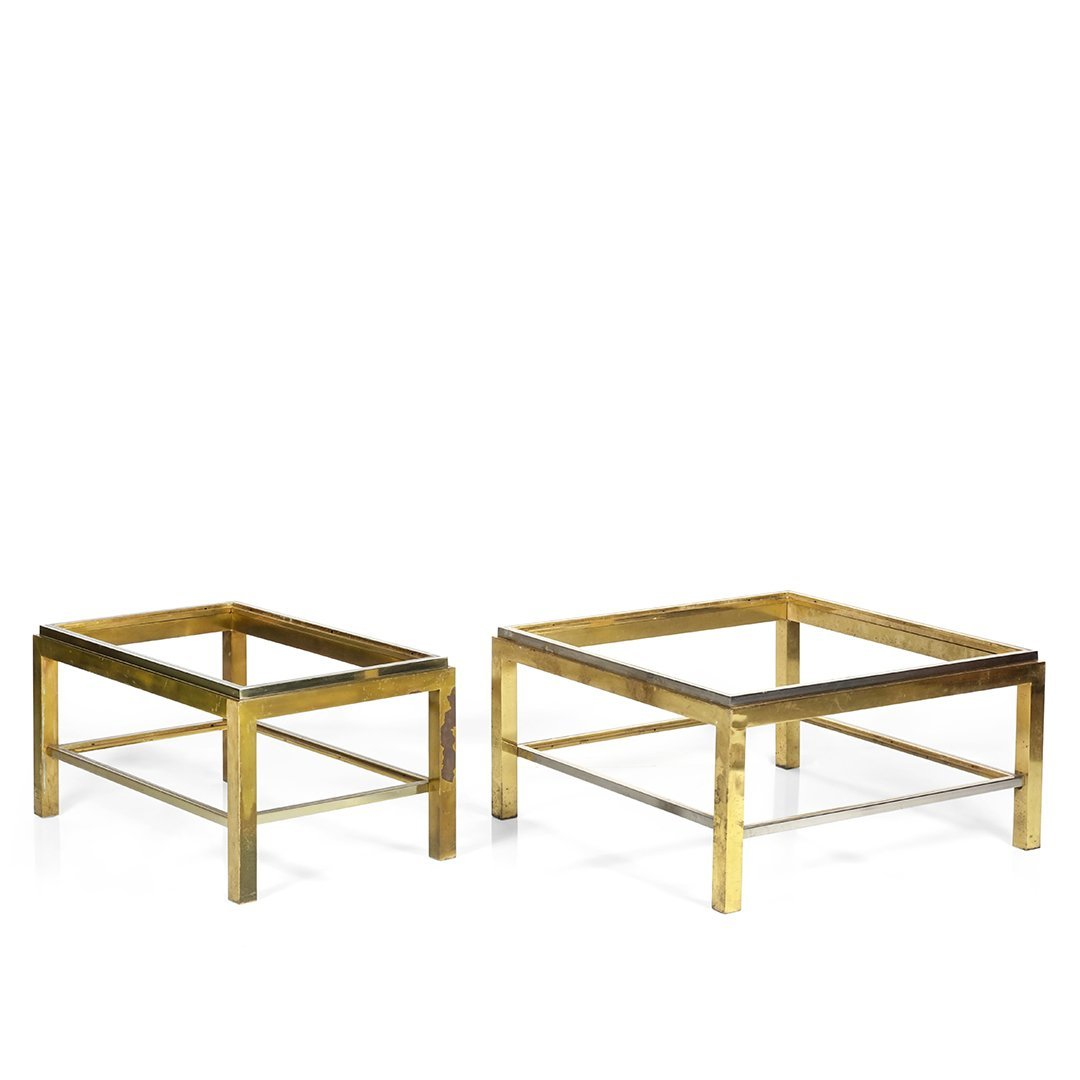 Chrome and brass coffee table frames (2)