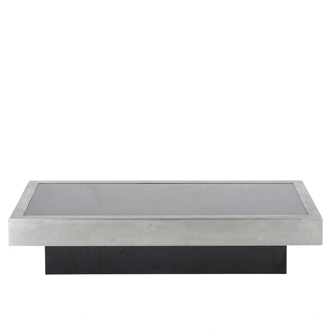 Willy Rizzo brushed steel coffee table - 2