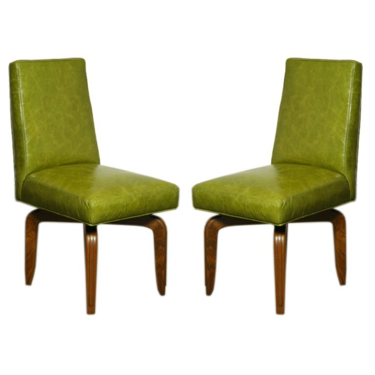 Monteverdi-Young leather and walnut side chairs (2)