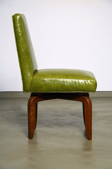 Monteverdi-Young leather and walnut side chairs (2) - 4