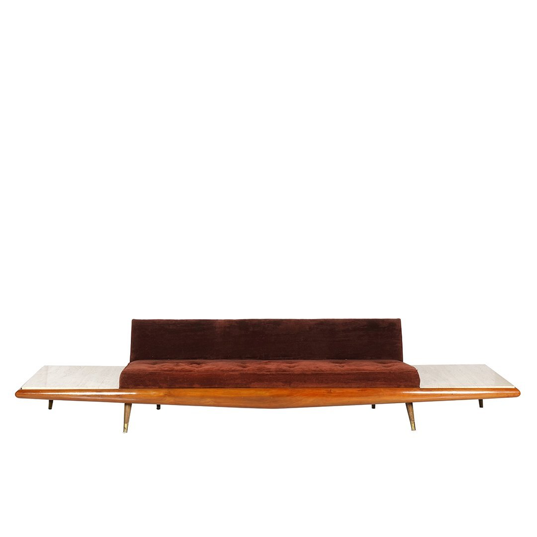 Adrian Pearsall sofa with travertine side tables