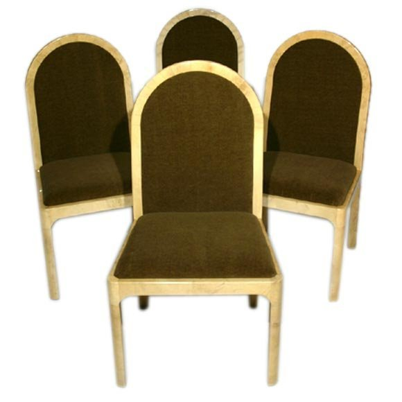 Mohair and goatskin wrapped side chairs (4)