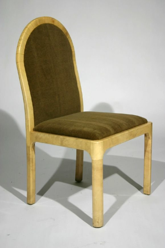 Mohair and goatskin wrapped side chairs (4) - 2