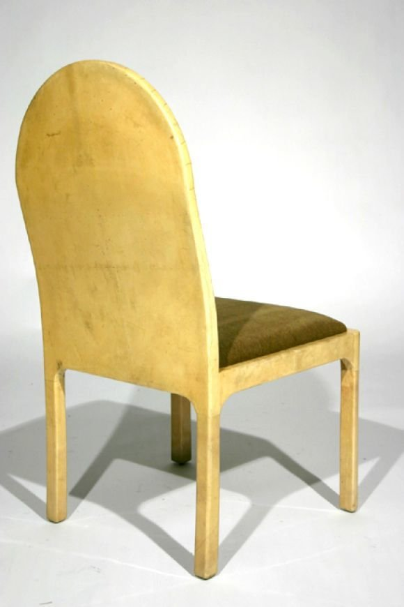 Mohair and goatskin wrapped side chairs (4) - 3