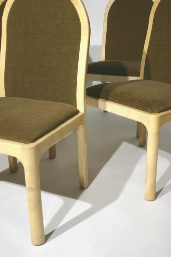 Mohair and goatskin wrapped side chairs (4) - 5