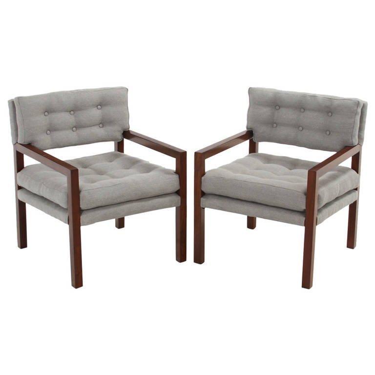 Pair of walnut armchairs (2)