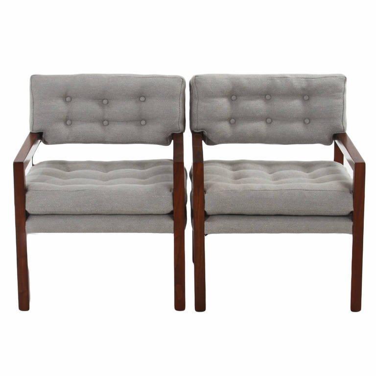 Pair of walnut armchairs (2) - 3