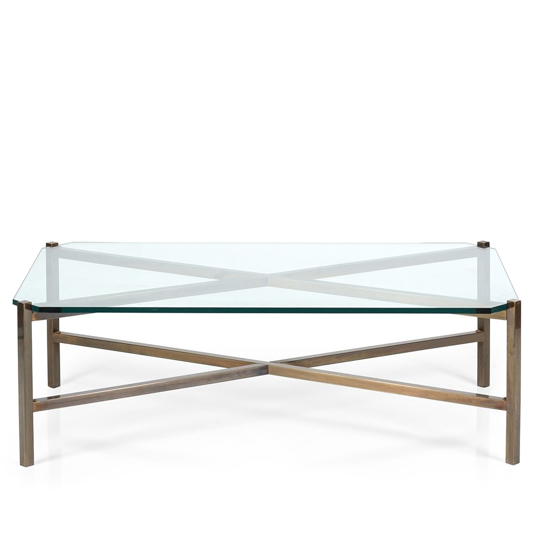 Brass X-base coffee table - 2