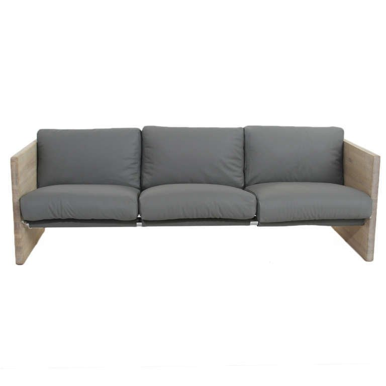 Modernist leather and oak sofa - 3