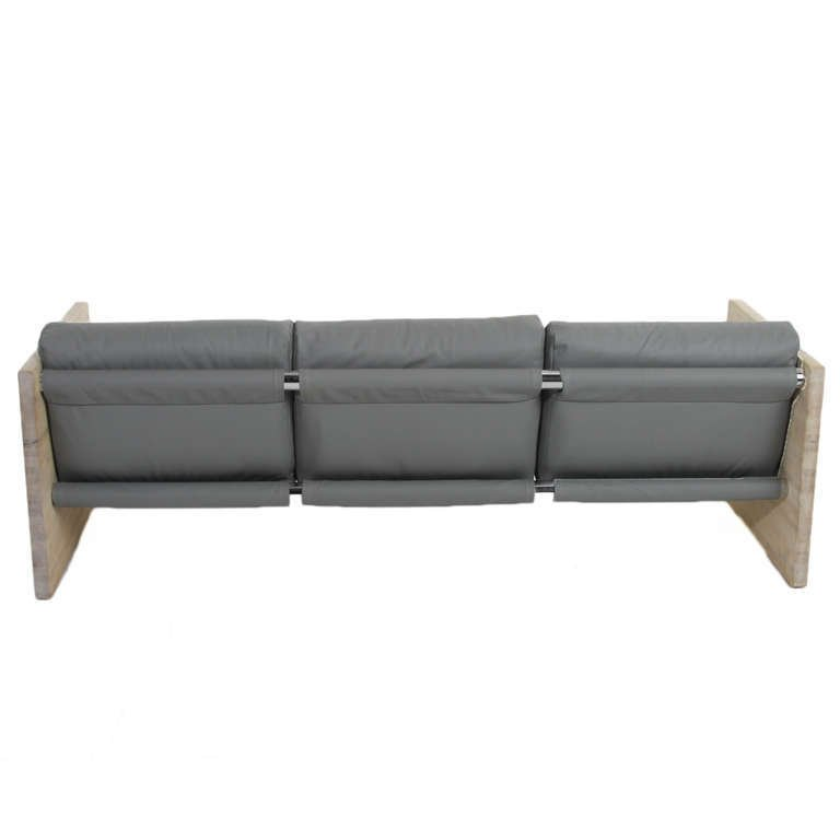 Modernist leather and oak sofa - 5