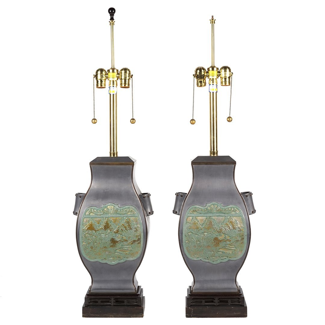 Marbro brass and pewter lamps (2)