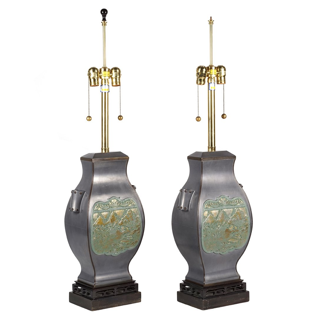 Marbro brass and pewter lamps (2) - 2