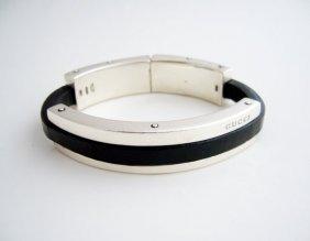 Vintage Gucci sterling silver and leather bracelet