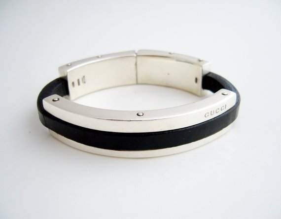 Vintage Gucci sterling silver and leather bracelet