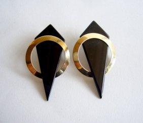 14k gold and onyx geometric earrings