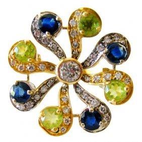 Peridot blue sapphire diamond gold ring