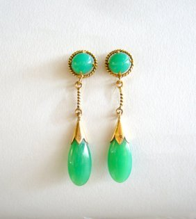 14k gold and chrysoprase dangle drop earrings