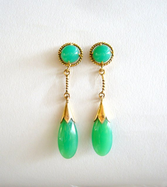 14k gold and chrysoprase dangle drop earrings